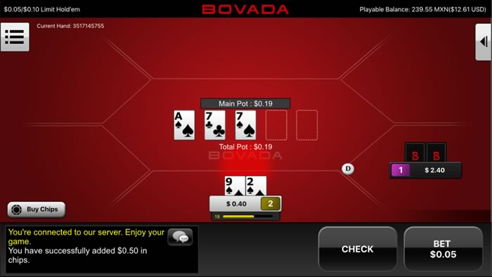 Bovada Mobile Poker Table