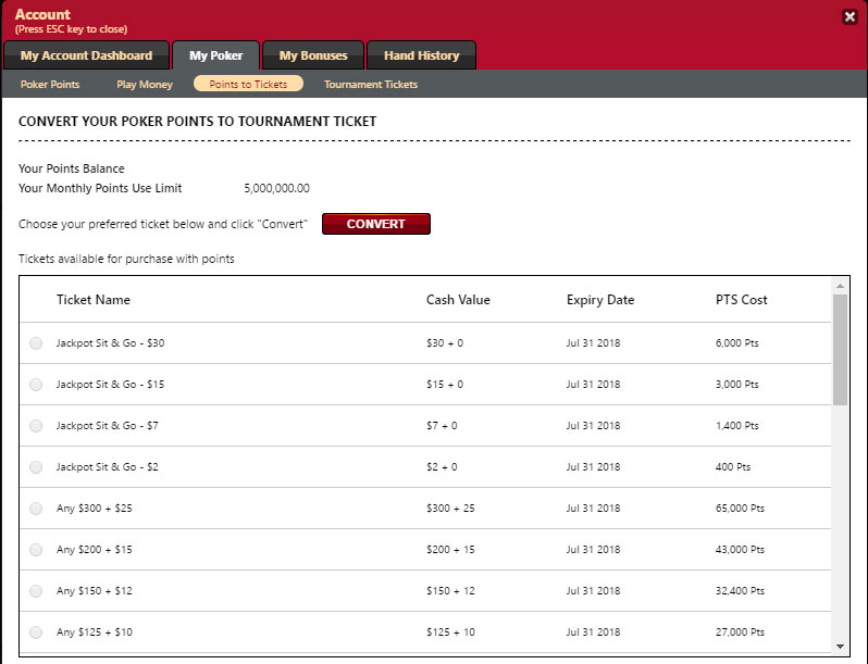 Bovada Poker Points to Tickets