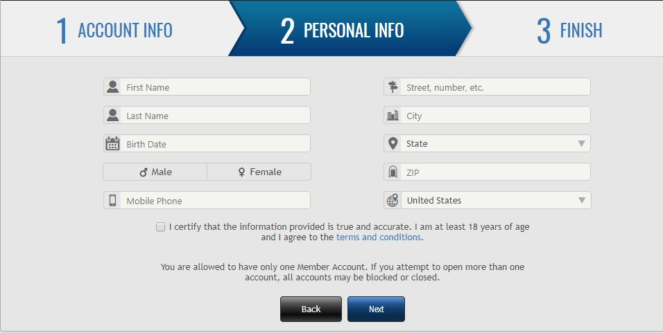 Creating Account Step 3