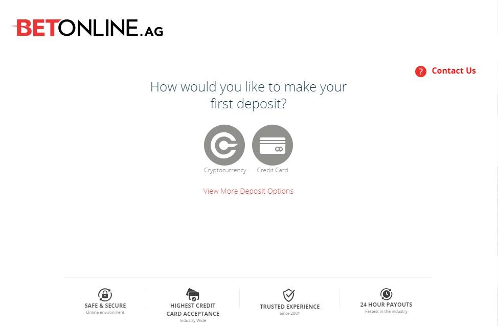 BetOnline Deposit Step 1