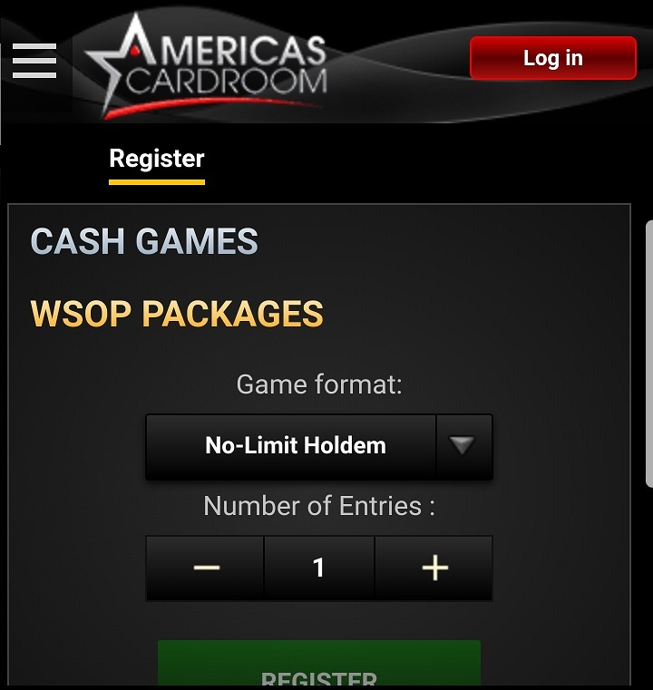 Americas Cardroom Mobile Poker Lobby