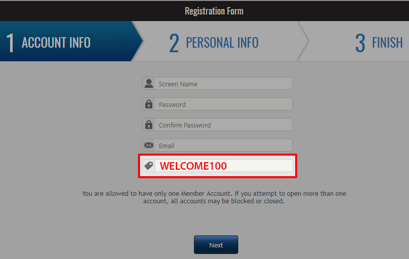 Creating Account Step 2