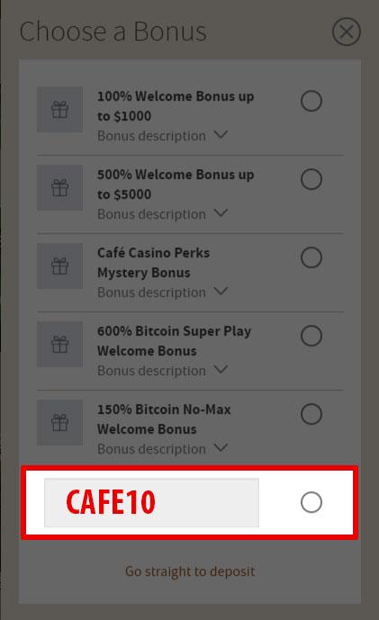 Cafe Casino Bonus Codes