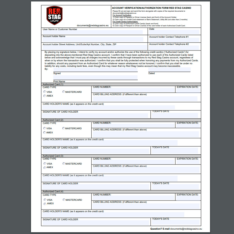 Red Stag Deposit authorization form
