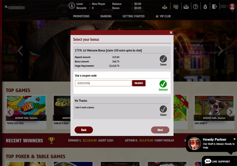 Red Stag enter Deposit Bonus Code during deposit