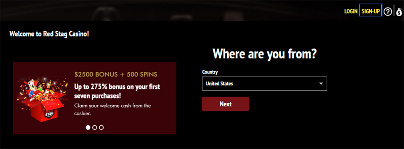 Red Stag Create Account select your country