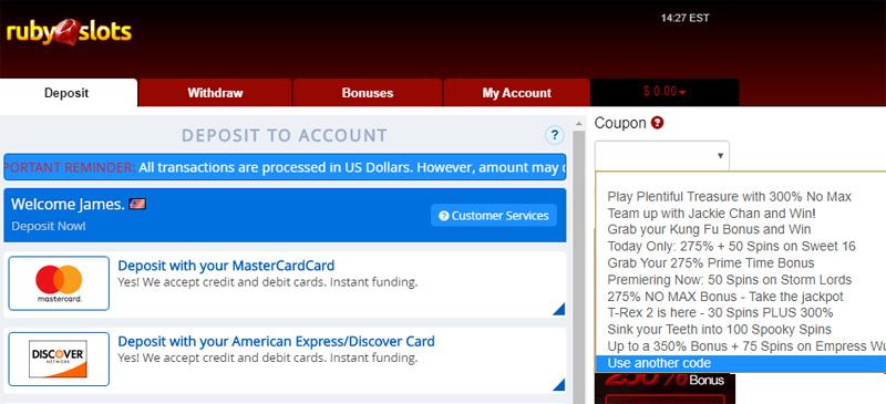 Ruby Slots Redeem Deposit Match Bonus promo code