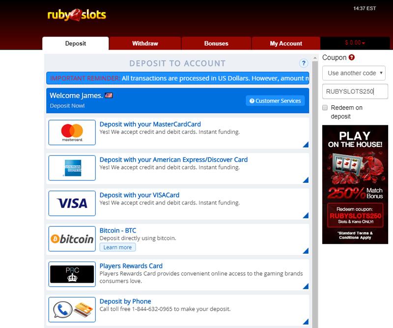 Ruby Slots Redeem RUBY250 promo code during deposit