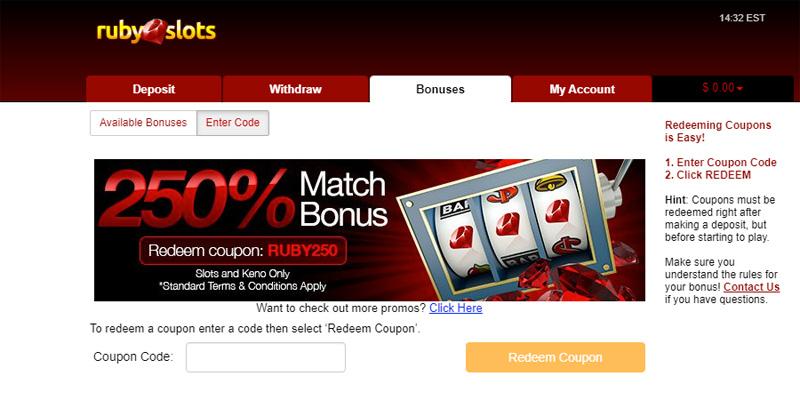 Ruby Slots Redeem No Deposit promo code