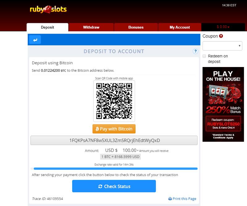 Ruby Slots Deposit using Bitcoin