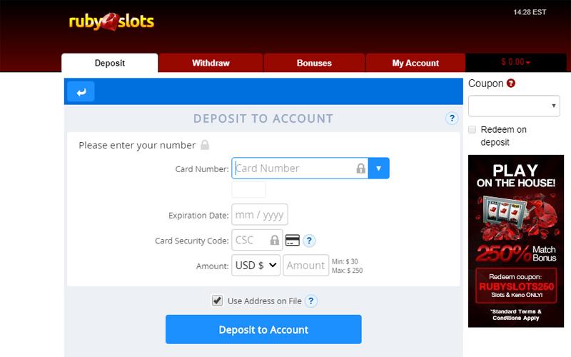 Ruby Slots Deposit using Credit Card