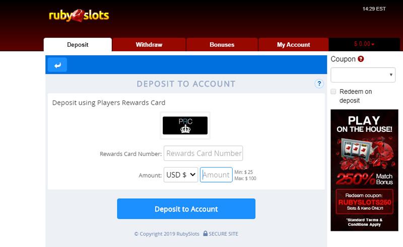 Ruby Slots Deposit using Players Rewards Card