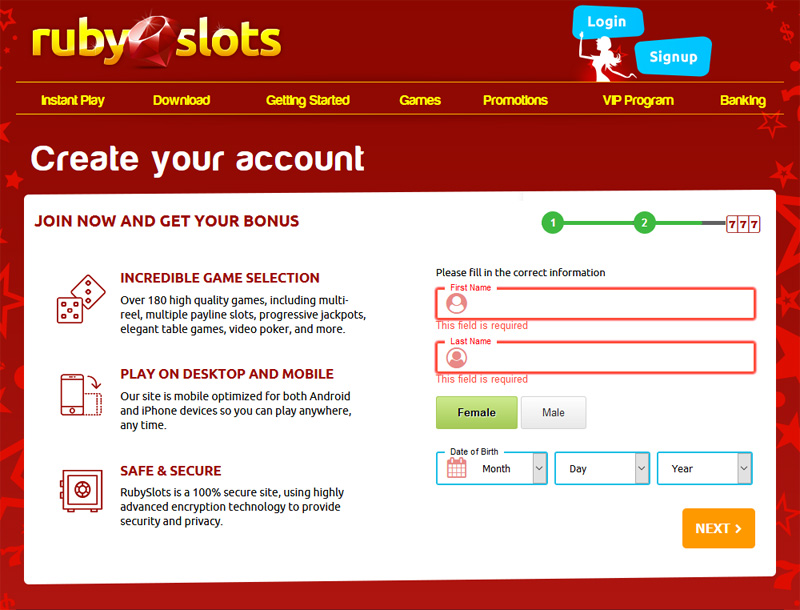 Ruby Slots Create an Account Personal Info