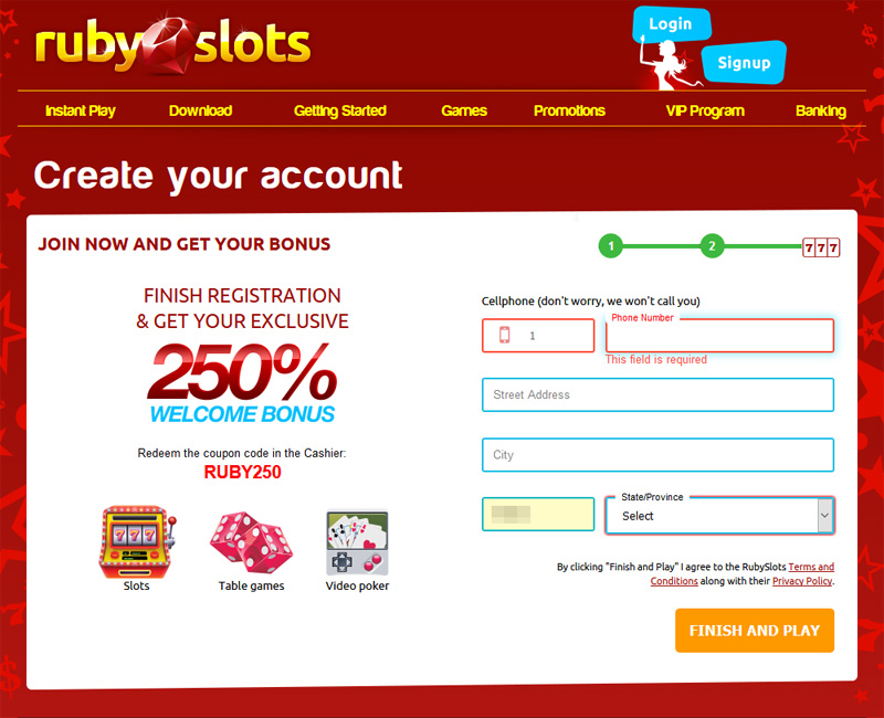 Ruby Slots Create an Account Contact Info