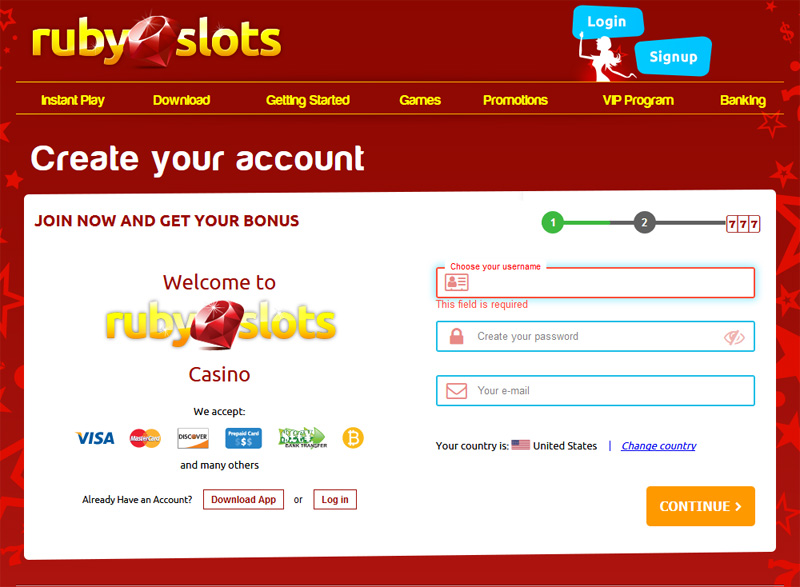 Ruby Slots Create an Account User Info