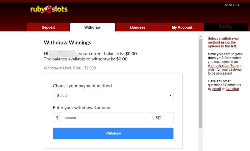 Ruby Slots request Payout