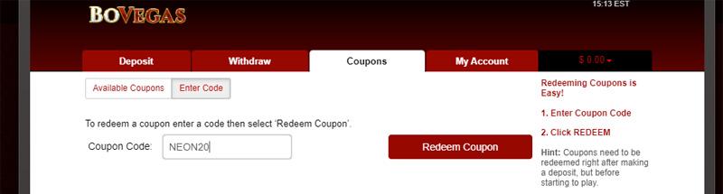 BoVegas Casino Redeem No Deposit NEON2 coupon code