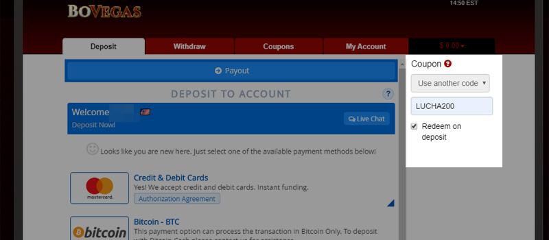 BoVegas Casino Redeem Deposit Match Bonus LUCHA200 coupon code