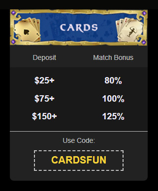 BoVegas Cards Match Bonus Upto 125% coupon code