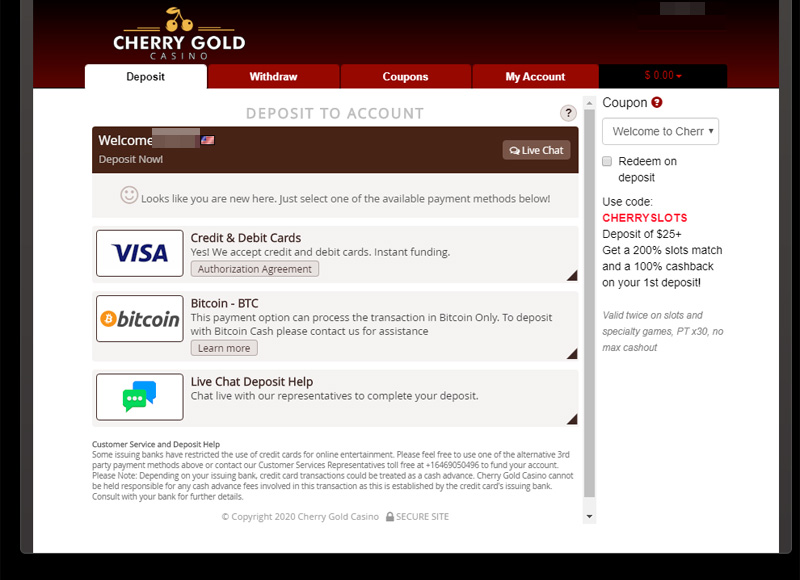 Redeem a Cherry Gold coupon code during deposit