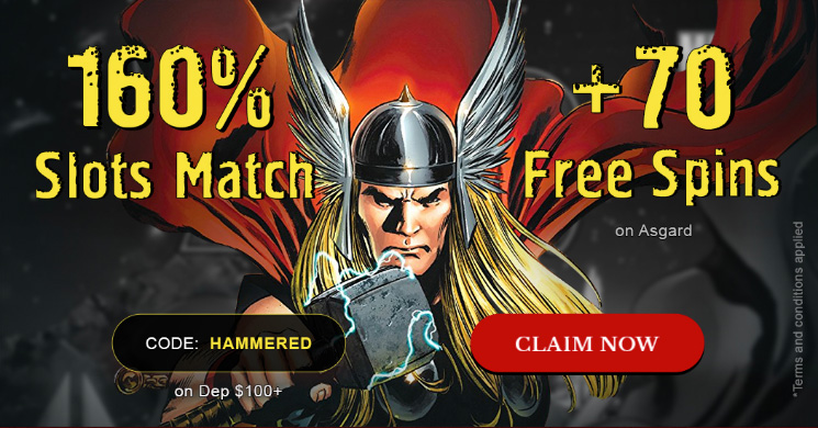 Cherry Gold Reload 160% Slots Match + 70 Free Spins coupon code