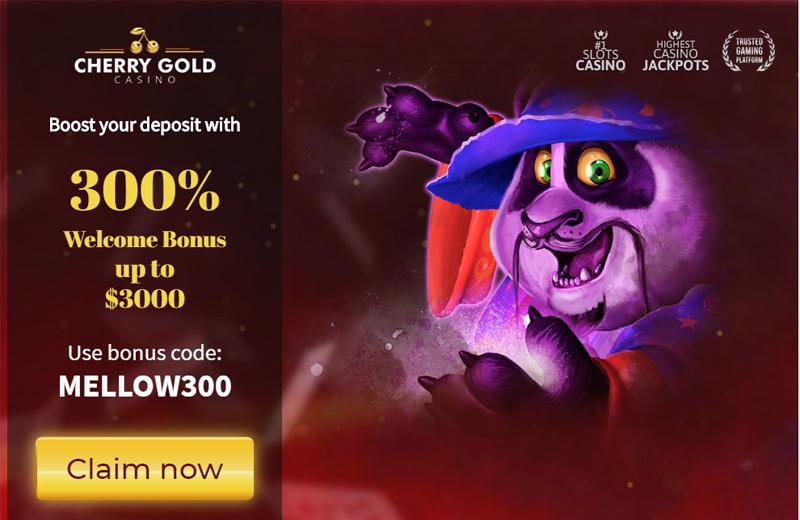 Cherry Gold 300% Welcome Bonus coupon code