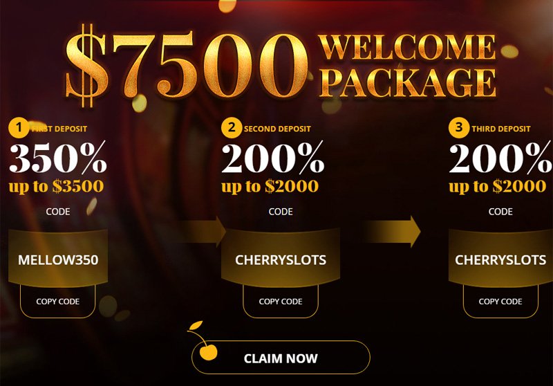 Cherry Gold's Welcome Package 1st Deposit, 350% Match Bonus