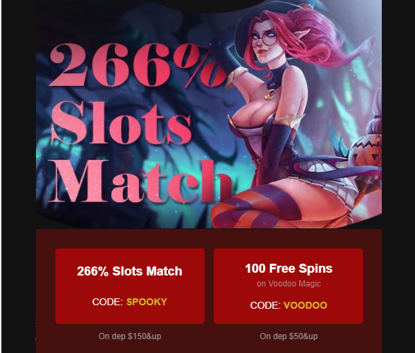 Cherry Gold Reload 266% Slots Match Bonus coupon code