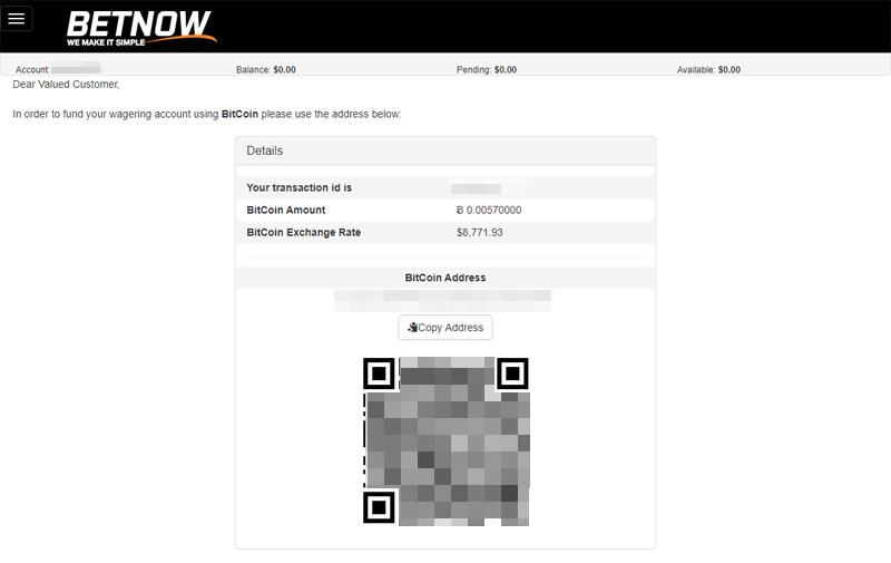 BetNow get Bitcoin address to send deposit