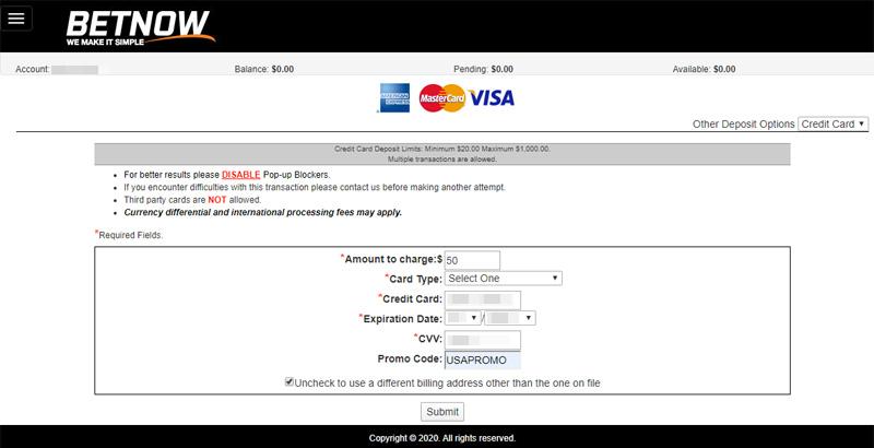 BetNow enter your Credit Card information to make deposit