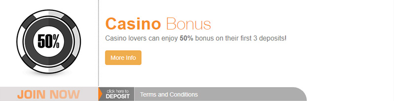 BetNow 50% Cash Bonus for Casino BNCASINO coupon code