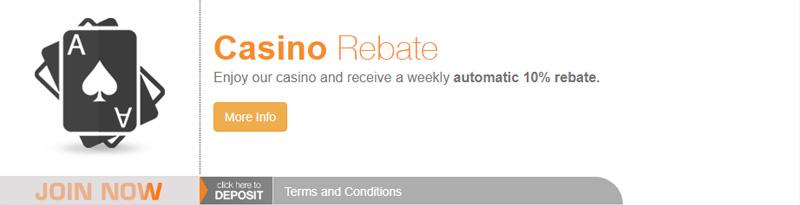 BetNow 10% Cash Bonus Rebate on Casino automatic promo