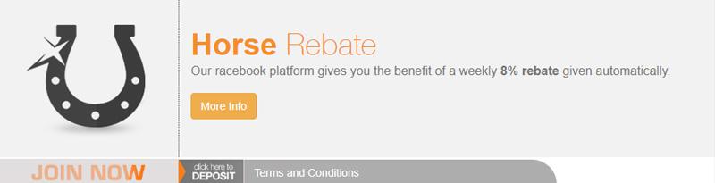 BetNow 8% Cash Bonus Rebate on Horses automatic promo