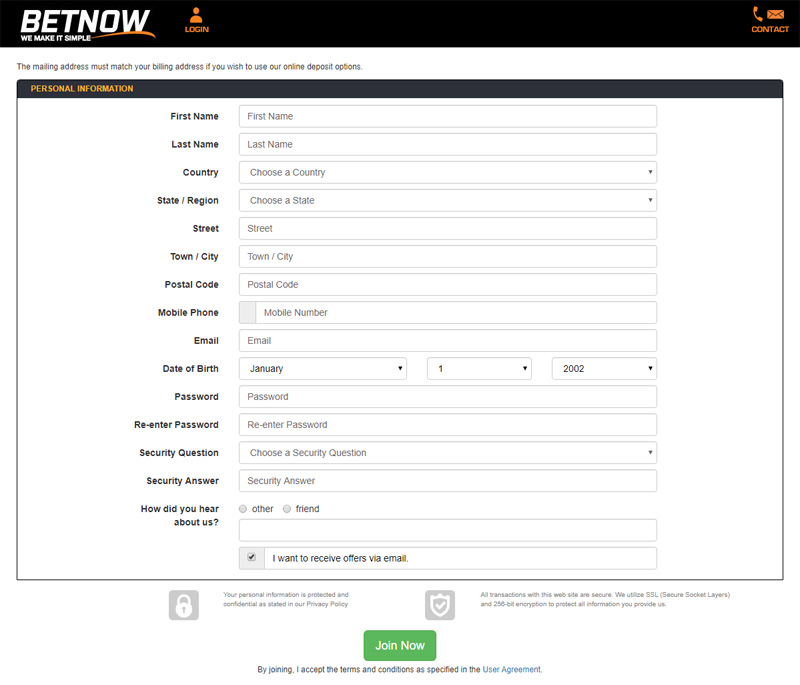 BetNow Sign-up Form